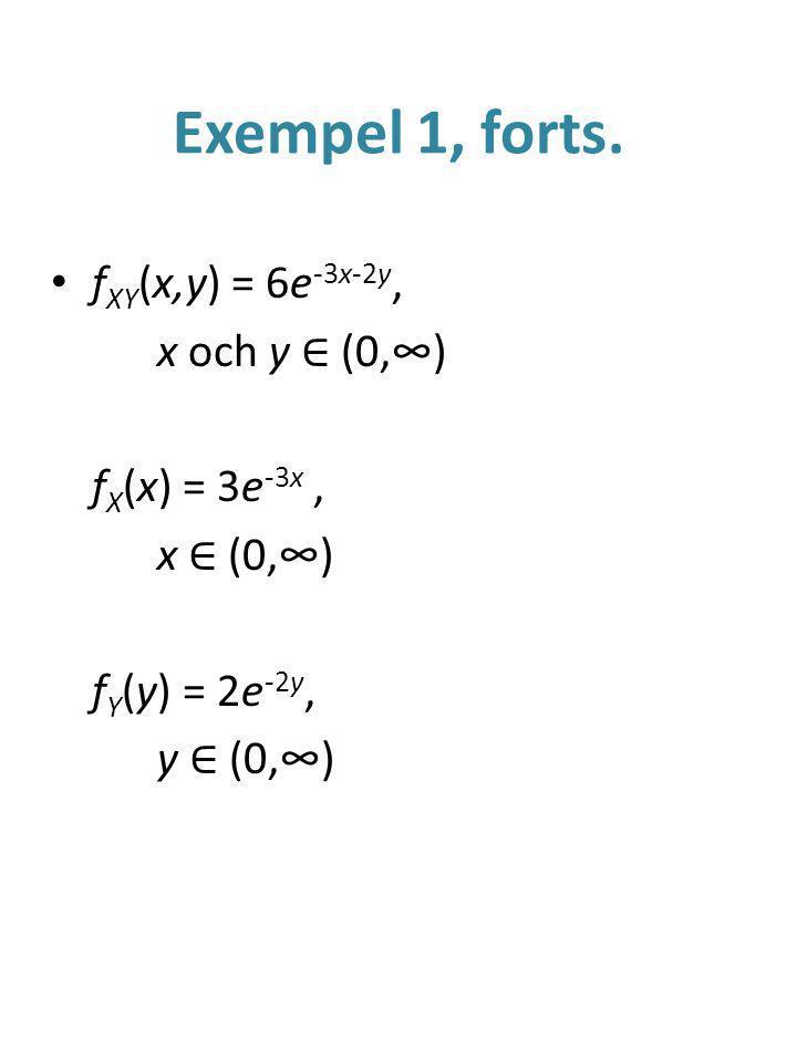Exempel 1, forts. fXY(x,y) = 6e-3x-2y, x och y ∈ (0,∞) fX(x) = 3e-3x ,