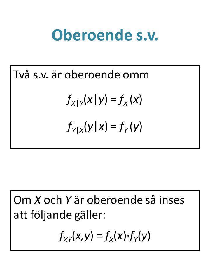 Oberoende s.v. Två s.v. är oberoende omm fX|Y(x|y) = fX (x) fY|X(y|x) = fY (y) Om X och Y är oberoende så inses att följande gäller: