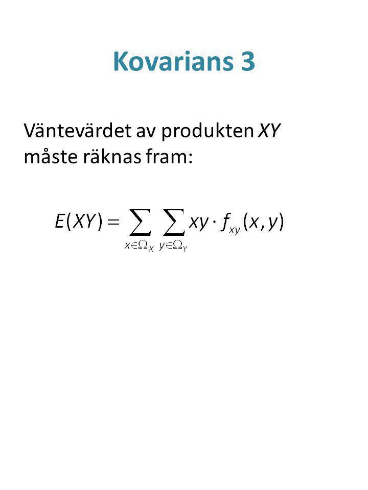 Kovarians 3 Väntevärdet av produkten XY måste räknas fram:
