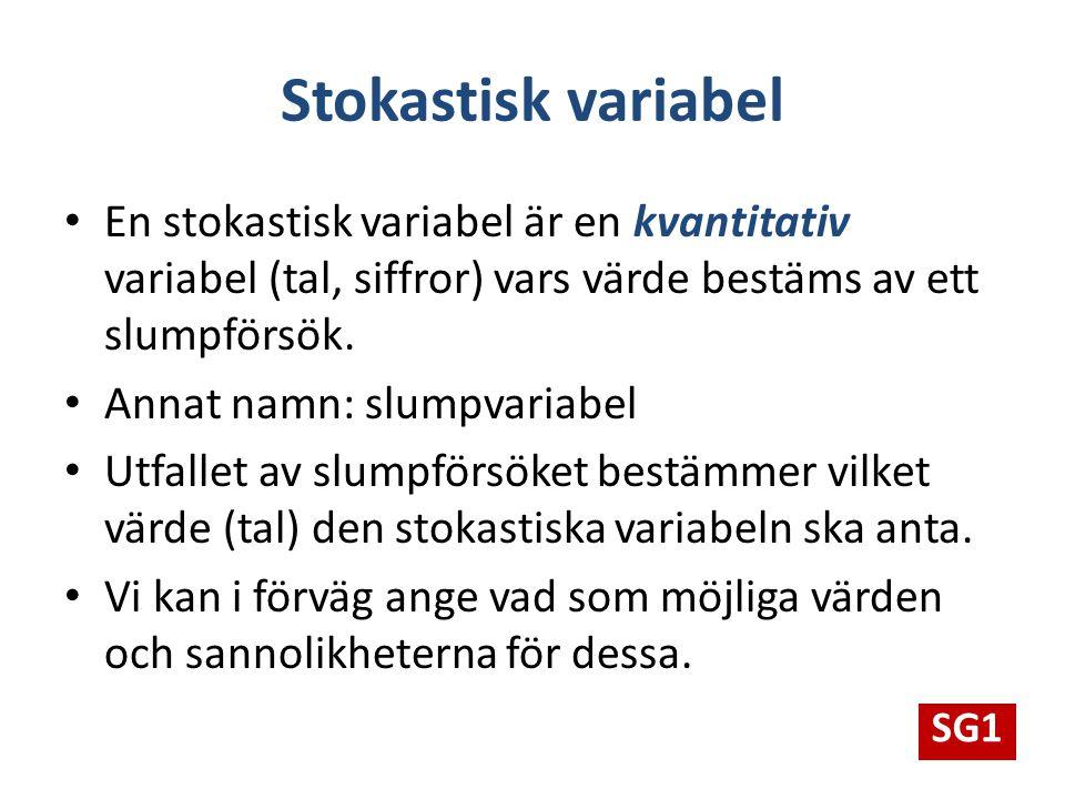 Stokastisk variabel En stokastisk variabel är en kvantitativ variabel (tal, siffror) vars värde bestäms av ett slumpförsök.