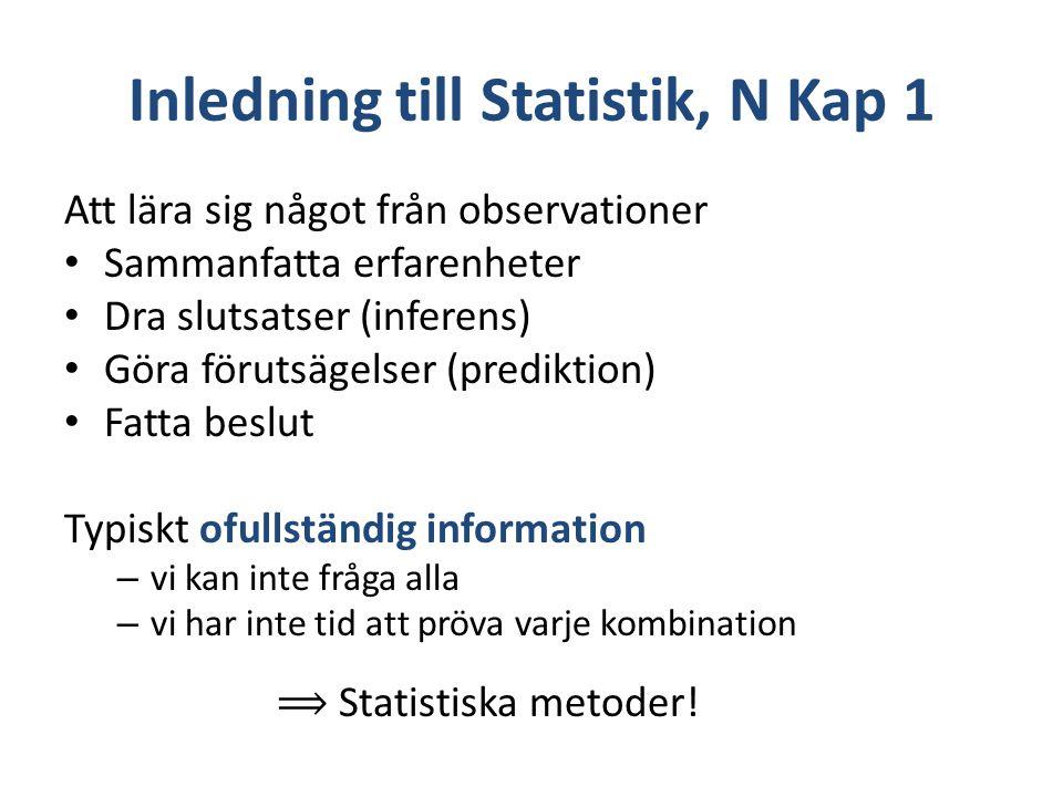 Inledning till Statistik, N Kap 1