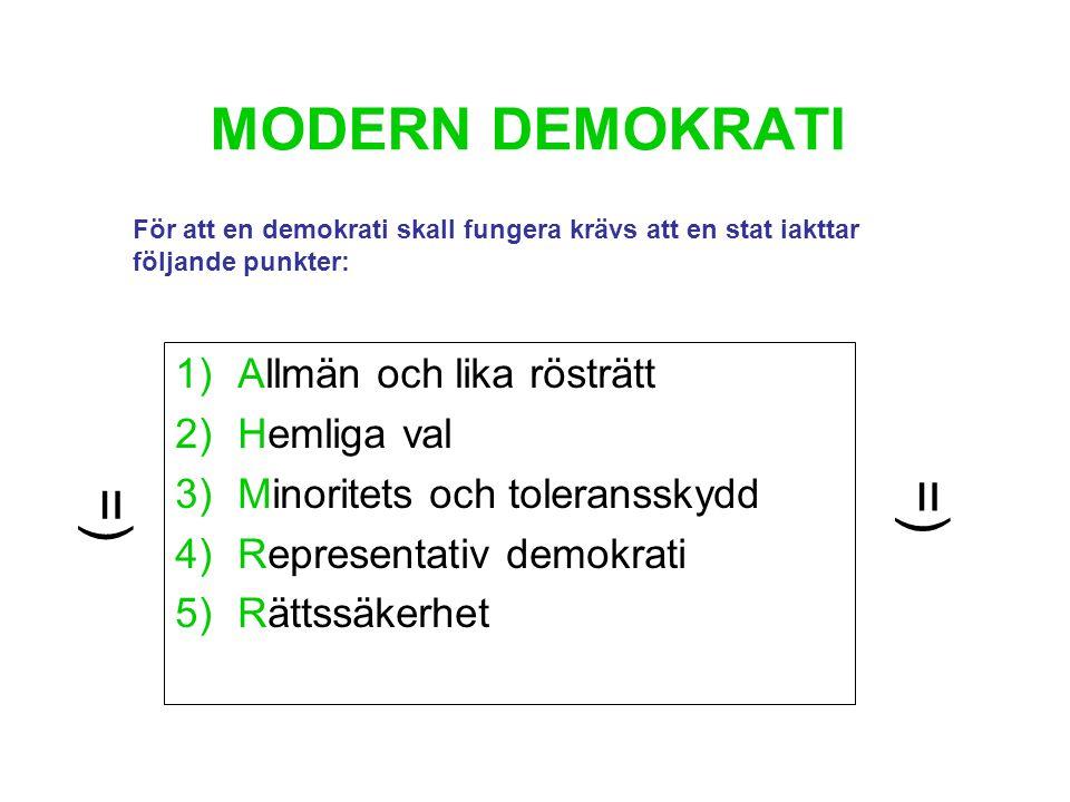 MODERN DEMOKRATI =) =) Allmän och lika rösträtt Hemliga val