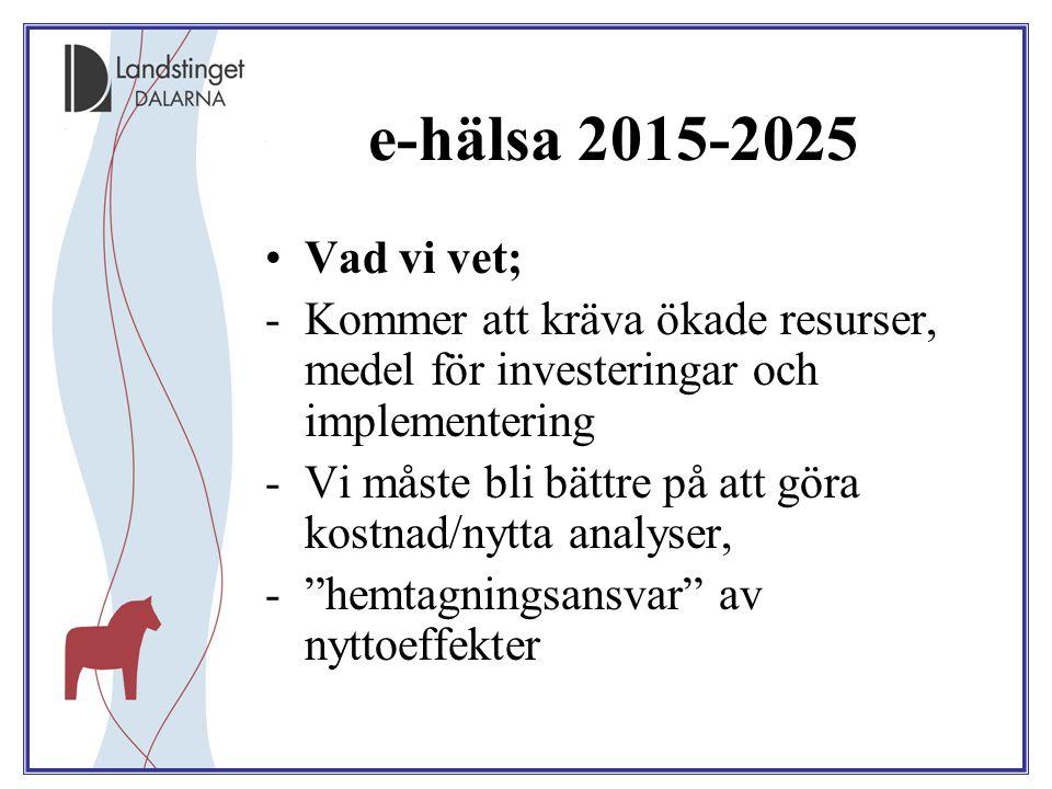 e-hälsa 2015-2025 Vad vi vet; Kommer att kräva ökade resurser, medel för investeringar och implementering.
