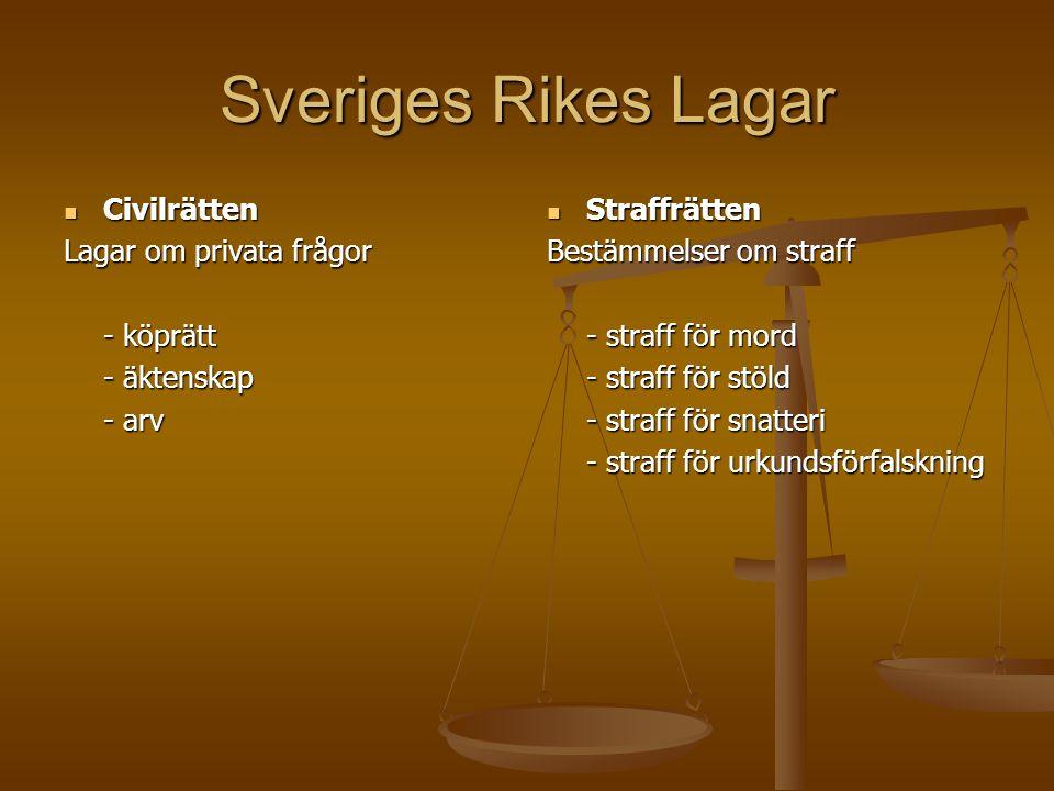 Sveriges Rikes Lagar Civilrätten Lagar om privata frågor - köprätt
