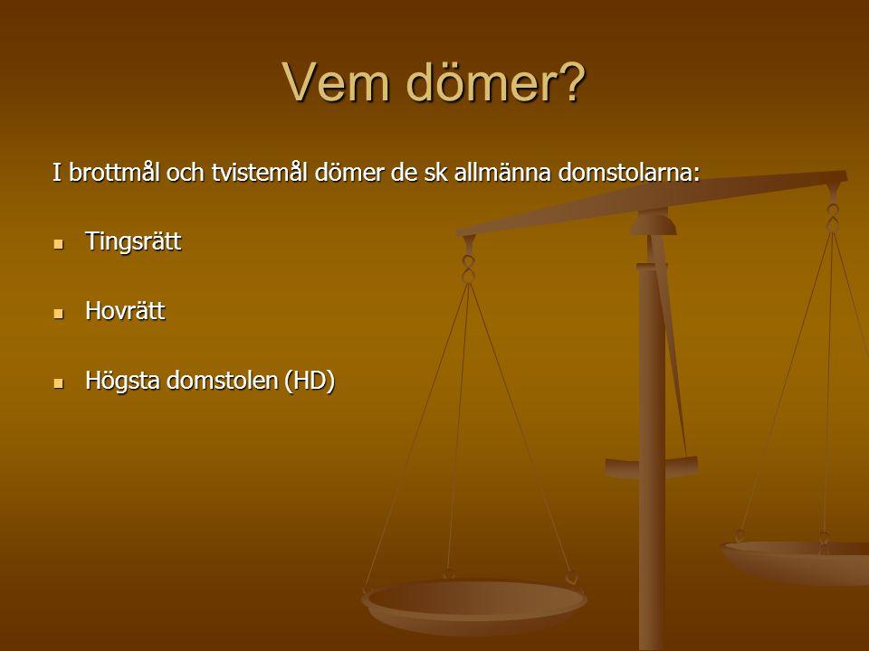 Vem dömer I brottmål och tvistemål dömer de sk allmänna domstolarna: