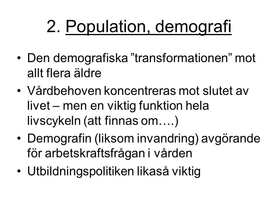 2. Population, demografi Den demografiska transformationen mot allt flera äldre.