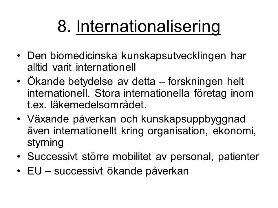 8. Internationalisering