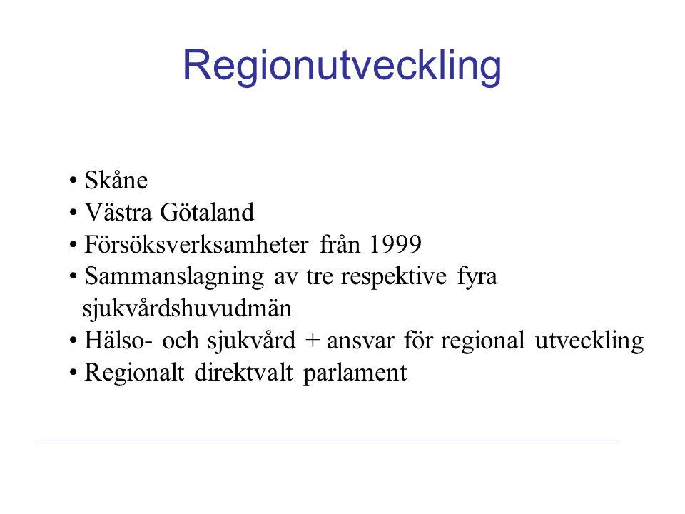 Regionutveckling Skåne Västra Götaland Försöksverksamheter från 1999
