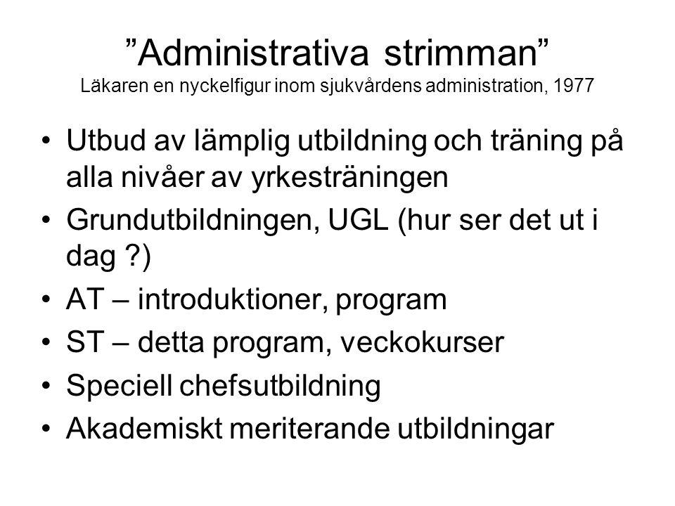 Administrativa strimman Läkaren en nyckelfigur inom sjukvårdens administration, 1977