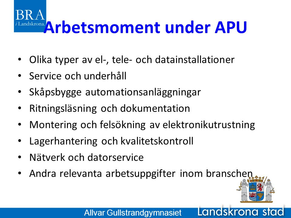 Arbetsmoment under APU