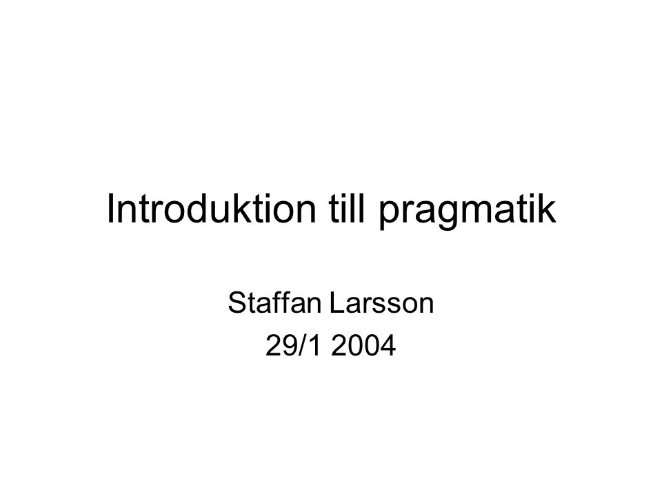 Introduktion till pragmatik