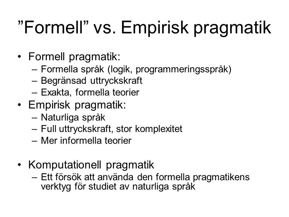 Formell vs. Empirisk pragmatik