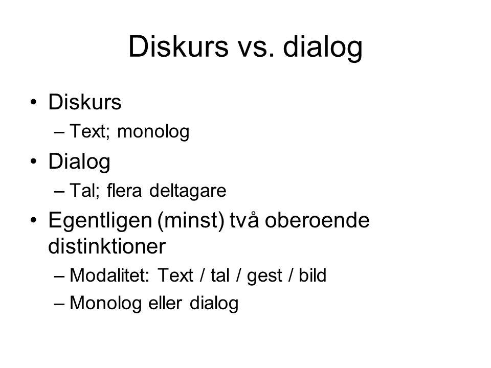 Diskurs vs. dialog Diskurs Dialog