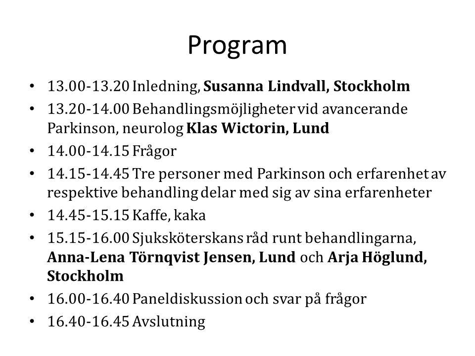 Program 13.00-13.20 Inledning, Susanna Lindvall, Stockholm