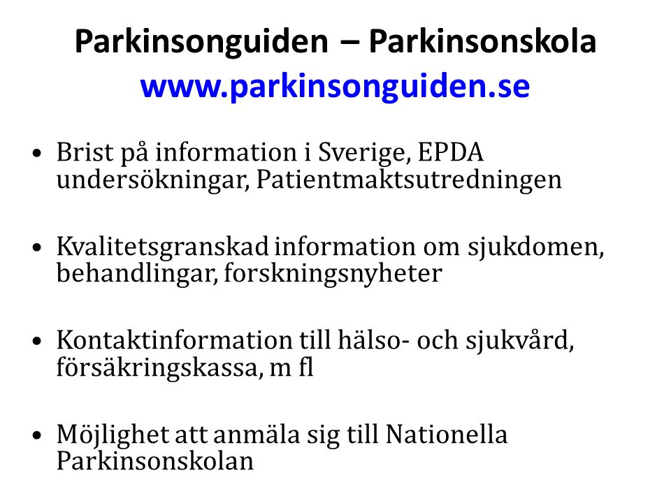 Parkinsonguiden – Parkinsonskola