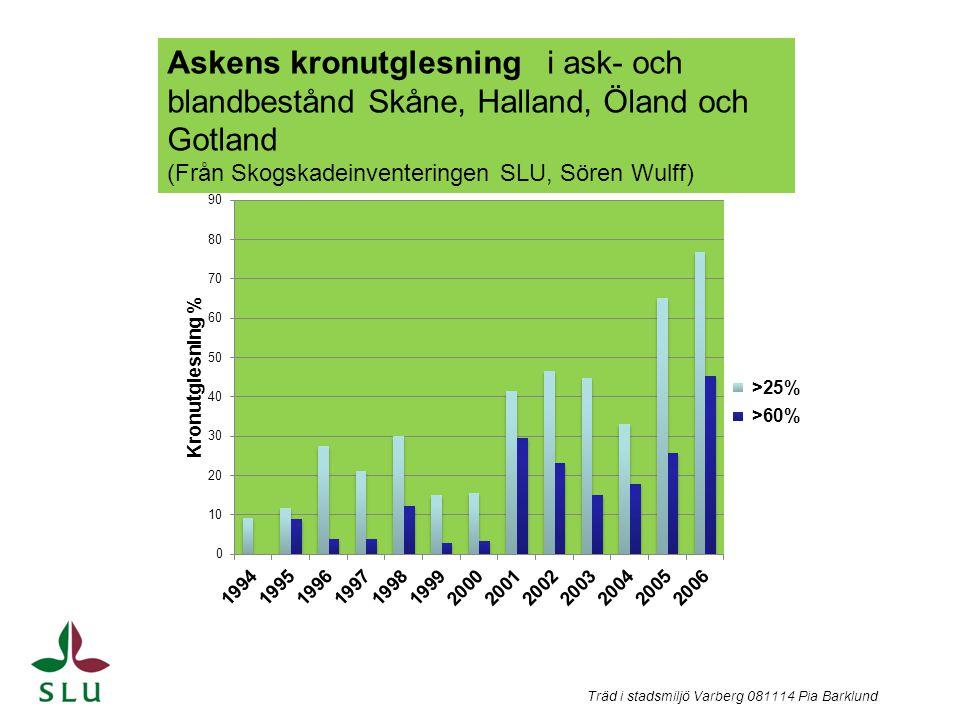 Askens kronutglesning i ask- och blandbestånd Skåne, Halland, Öland och Gotland