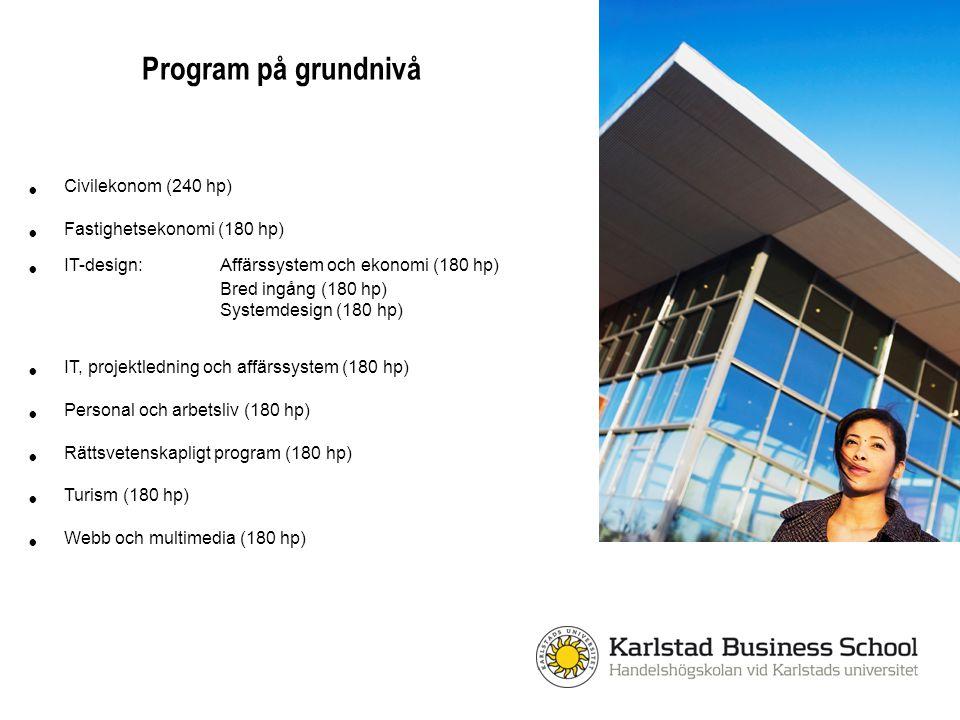 Program på grundnivå Civilekonom (240 hp) Fastighetsekonomi (180 hp)
