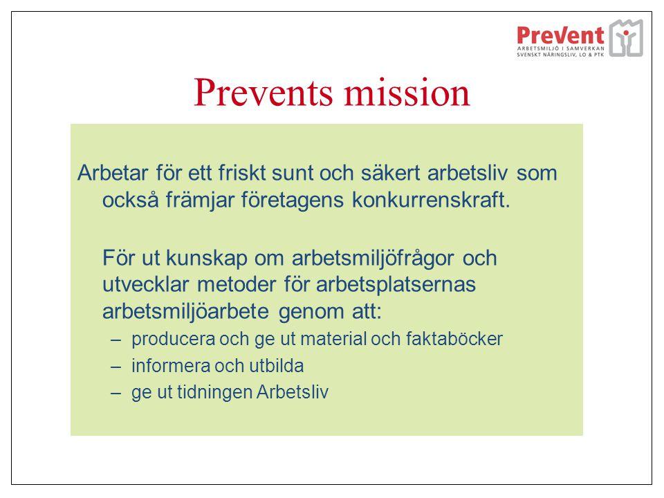 Prevents mission Arbetar för ett friskt sunt och säkert arbetsliv som också främjar företagens konkurrenskraft.