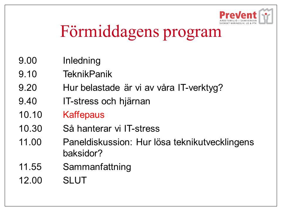 Förmiddagens program 9.00 Inledning 9.10 TeknikPanik