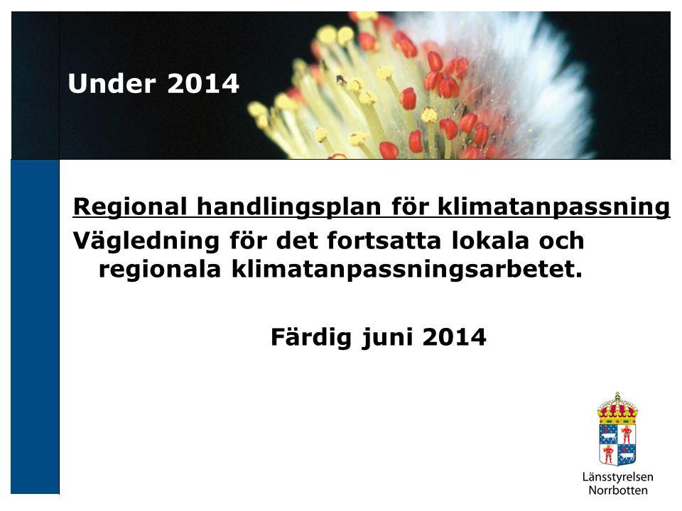 Under 2014 Regional handlingsplan för klimatanpassning Vägledning för det fortsatta lokala och regionala klimatanpassningsarbetet.
