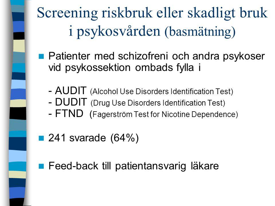 Screening riskbruk eller skadligt bruk i psykosvården (basmätning)