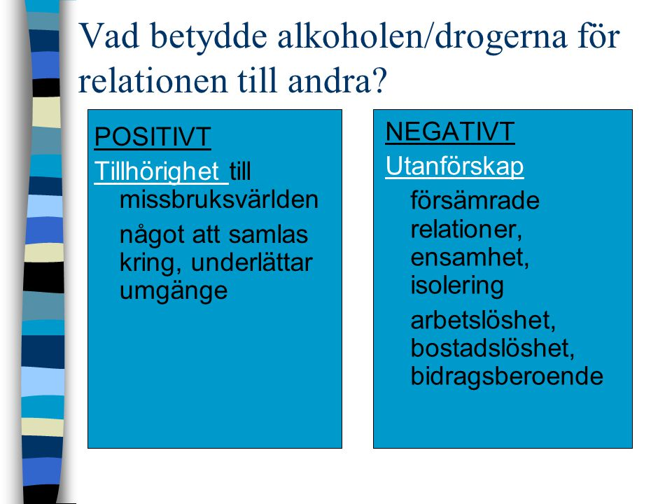 Vad betydde alkoholen/drogerna för relationen till andra