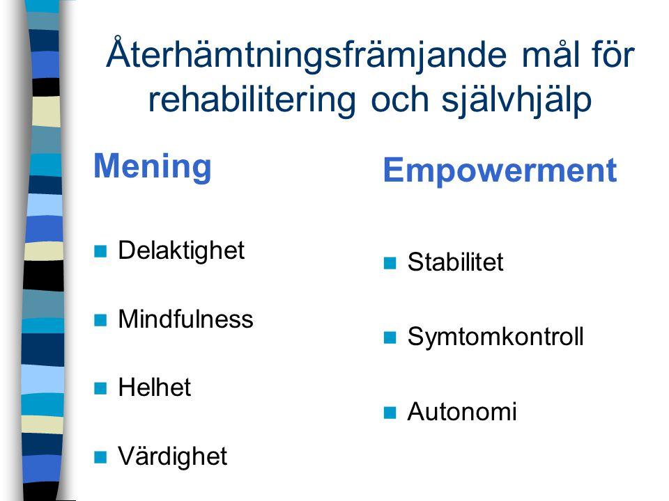 Återhämtningsfrämjande mål för rehabilitering och självhjälp