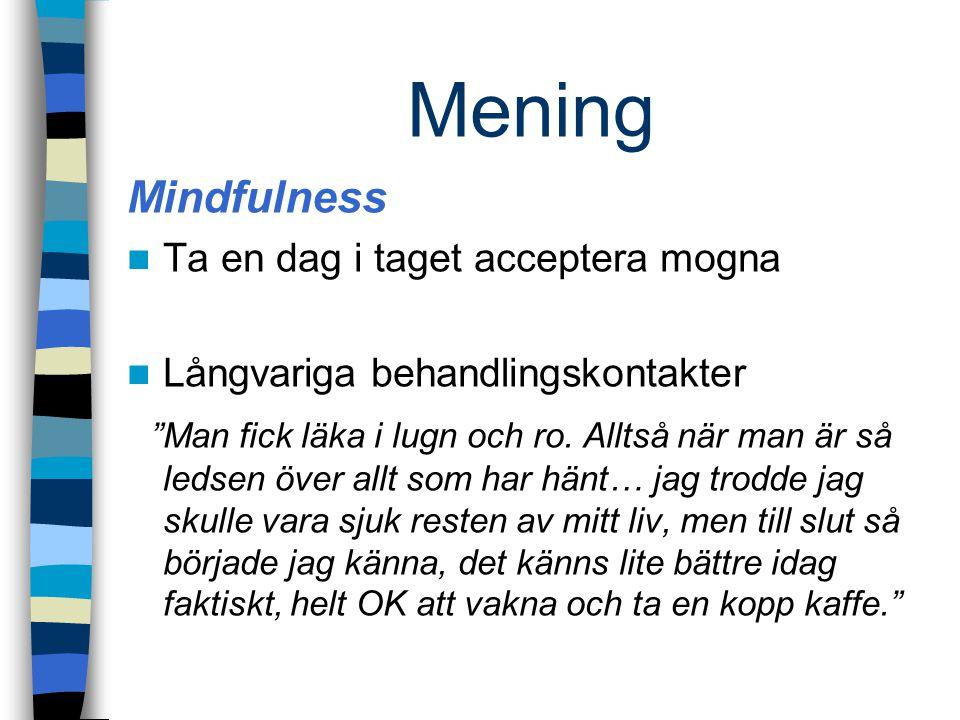 Mening Mindfulness. Ta en dag i taget acceptera mogna. Långvariga behandlingskontakter.