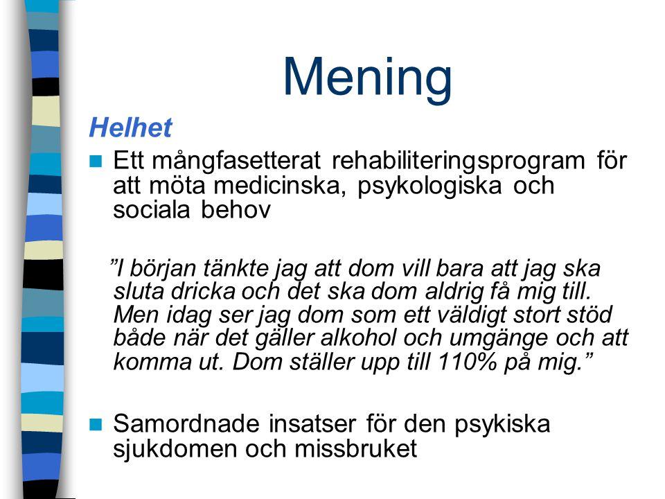Mening Helhet. Ett mångfasetterat rehabiliteringsprogram för att möta medicinska, psykologiska och sociala behov.