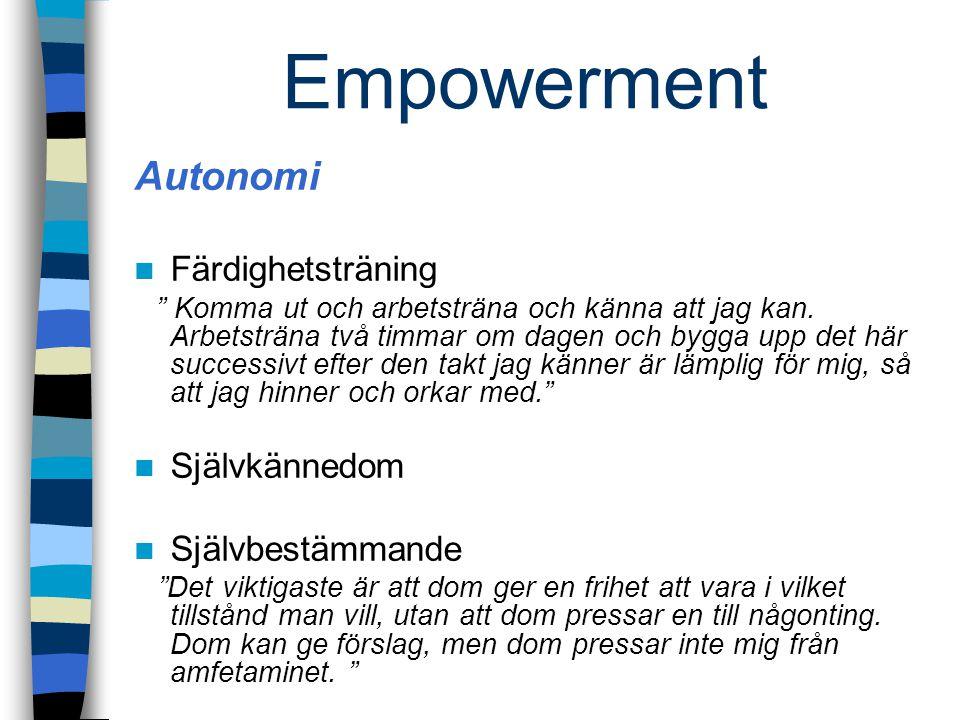 Empowerment Autonomi Färdighetsträning Självkännedom Självbestämmande