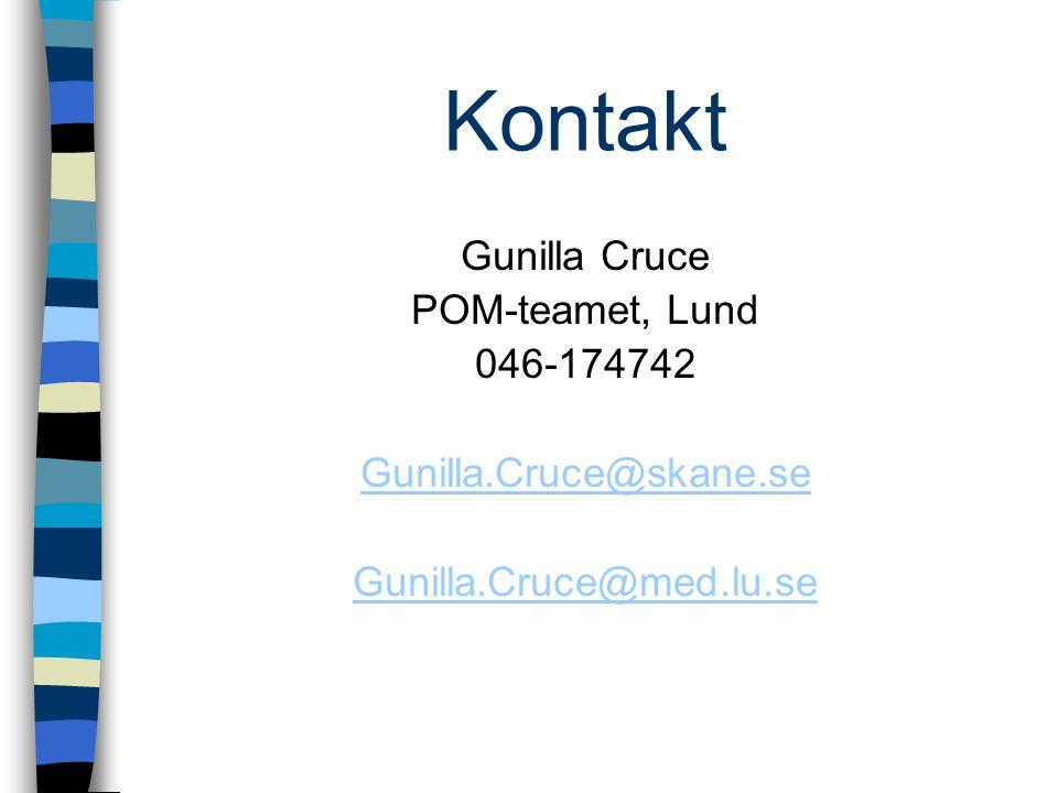 Kontakt Gunilla Cruce POM-teamet, Lund 046-174742