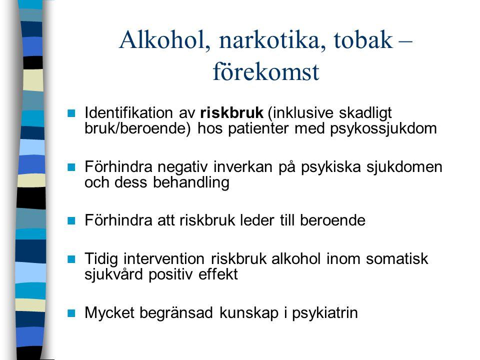 Alkohol, narkotika, tobak – förekomst