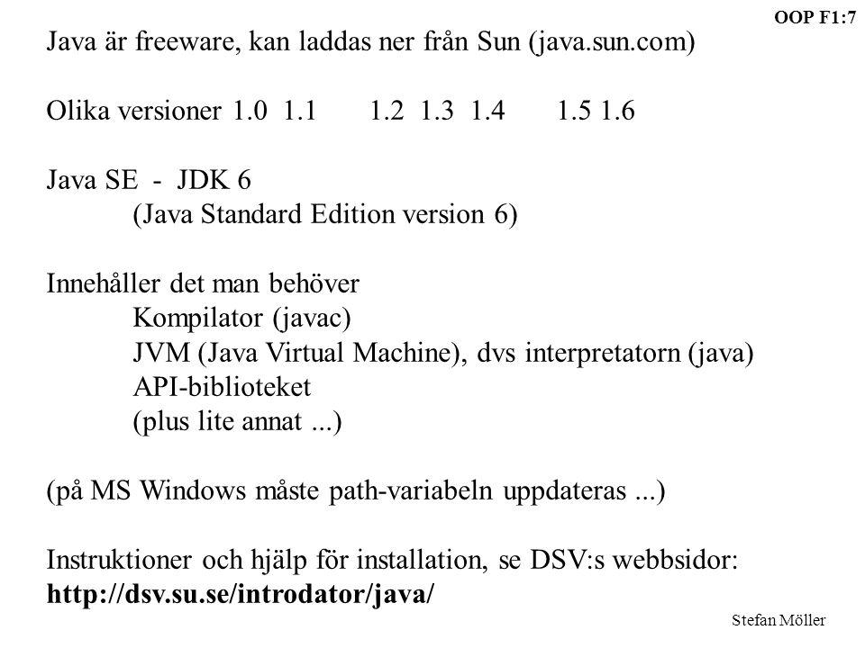 Java är freeware, kan laddas ner från Sun (java.sun.com)