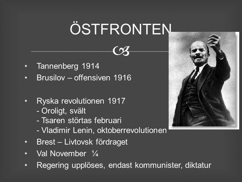 ÖSTFRONTEN Tannenberg 1914 Brusilov – offensiven 1916