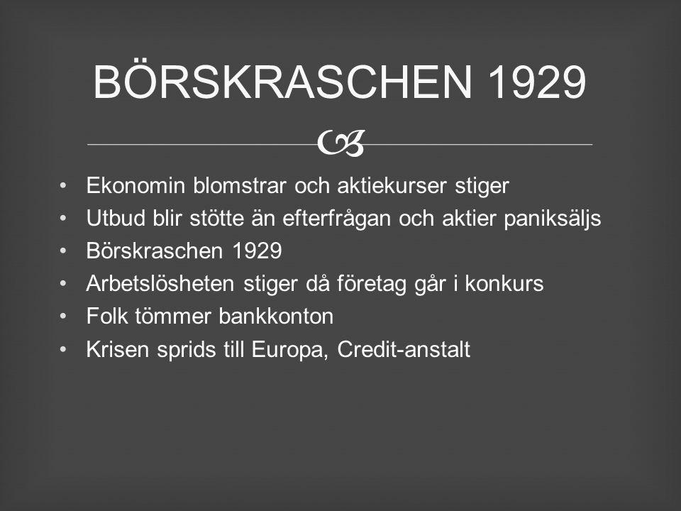 BÖRSKRASCHEN 1929 Ekonomin blomstrar och aktiekurser stiger