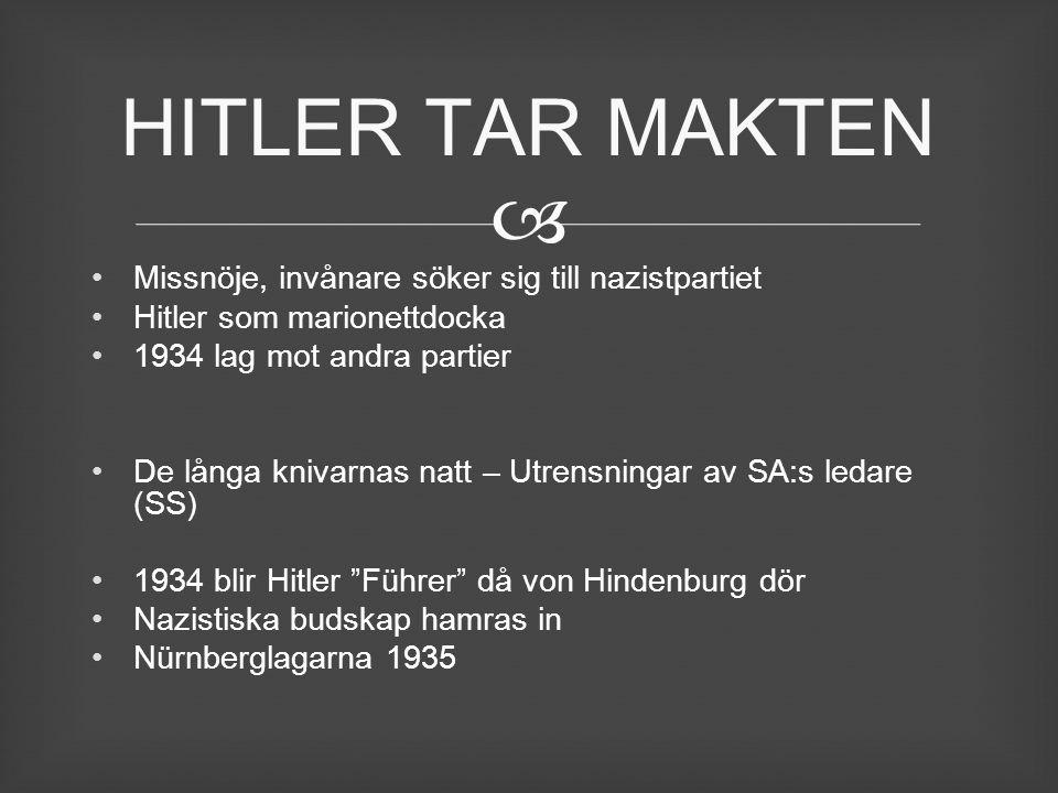 HITLER TAR MAKTEN Missnöje, invånare söker sig till nazistpartiet