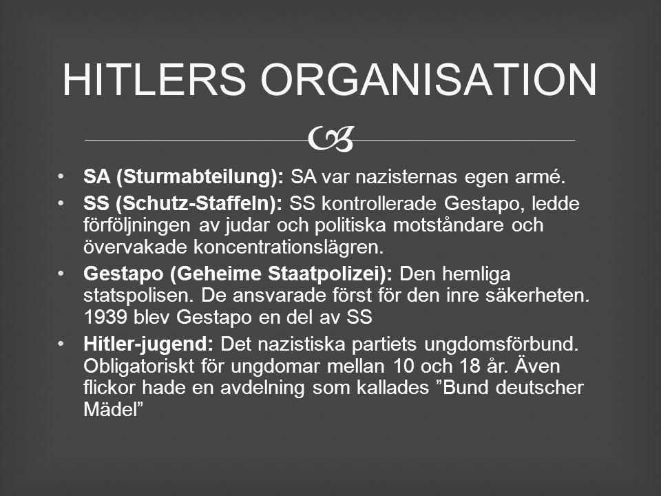 HITLERS ORGANISATION SA (Sturmabteilung): SA var nazisternas egen armé.