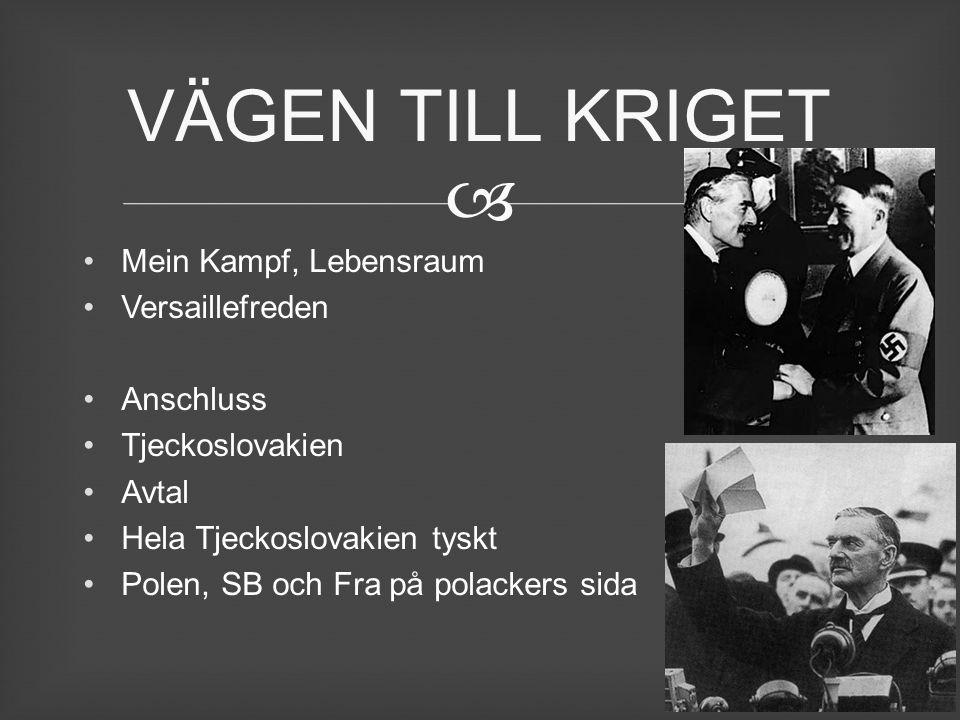 VÄGEN TILL KRIGET Mein Kampf, Lebensraum Versaillefreden Anschluss
