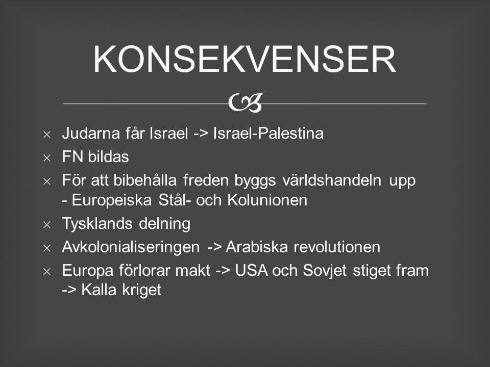 KONSEKVENSER Judarna får Israel -> Israel-Palestina FN bildas