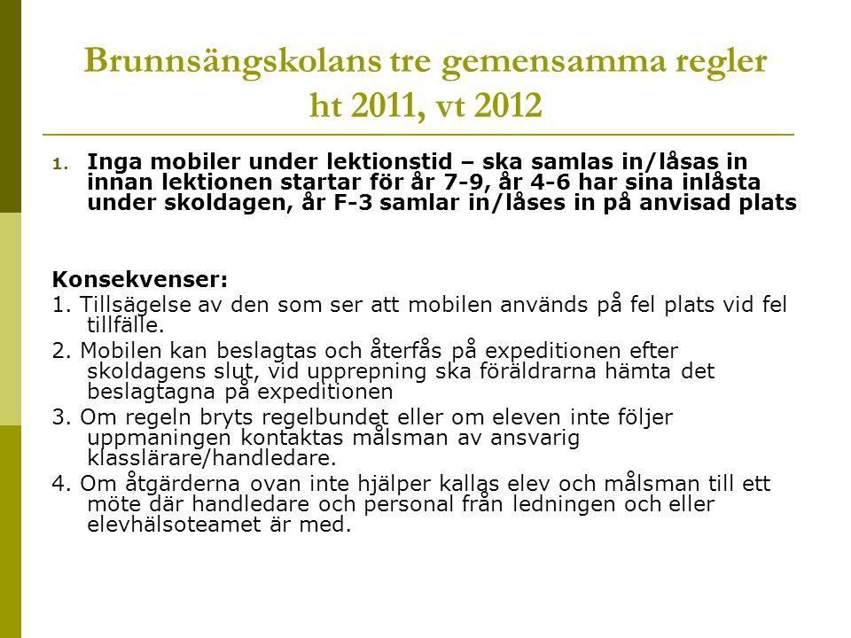 Brunnsängskolans tre gemensamma regler ht 2011, vt 2012