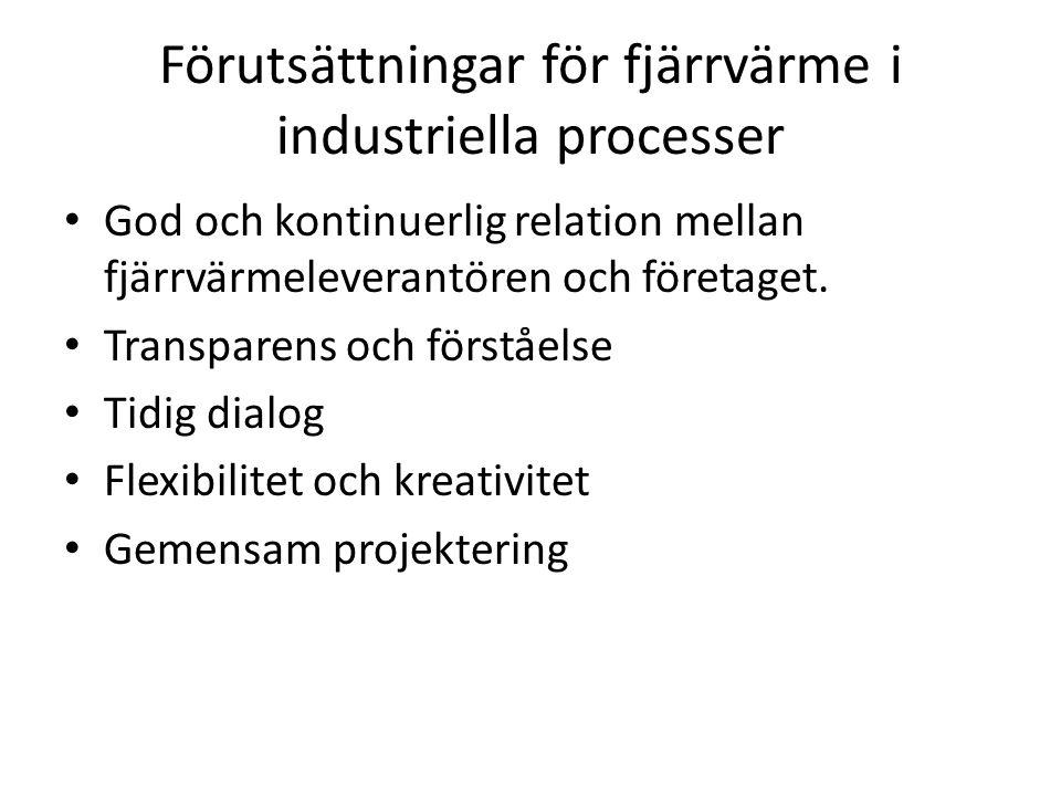 Förutsättningar för fjärrvärme i industriella processer