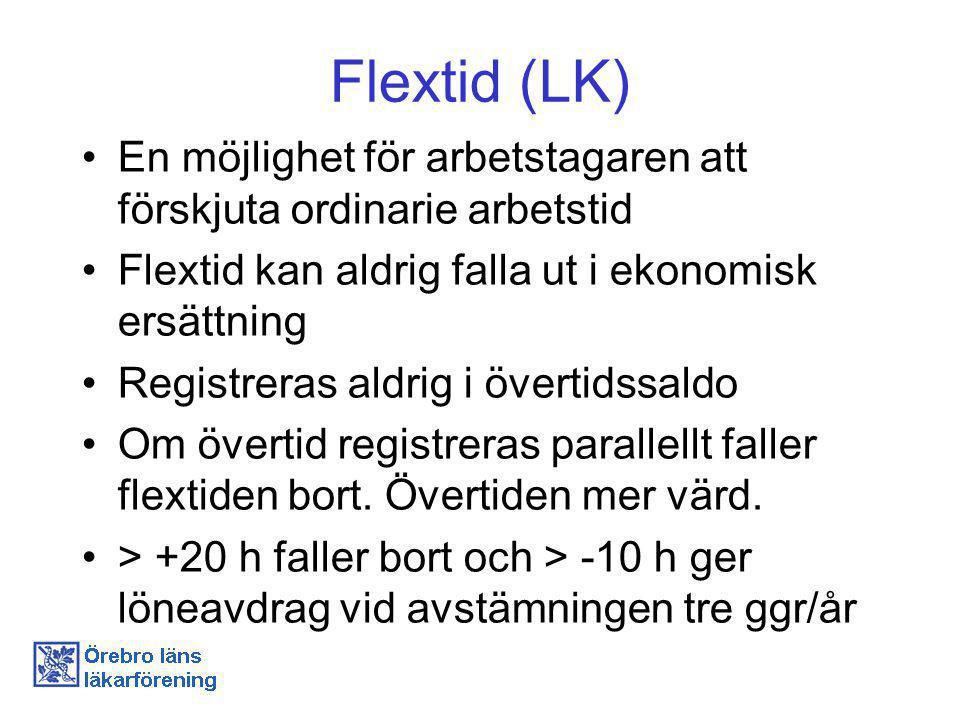Flextid (LK) En möjlighet för arbetstagaren att förskjuta ordinarie arbetstid. Flextid kan aldrig falla ut i ekonomisk ersättning.