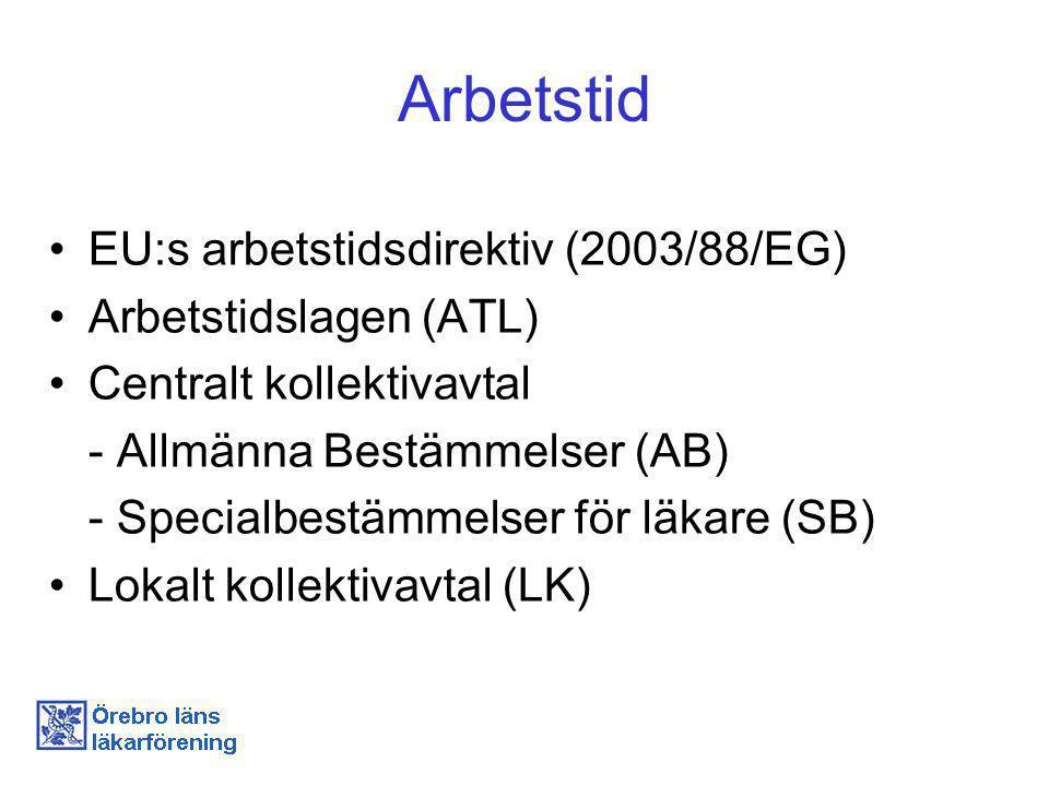 Arbetstid EU:s arbetstidsdirektiv (2003/88/EG) Arbetstidslagen (ATL)