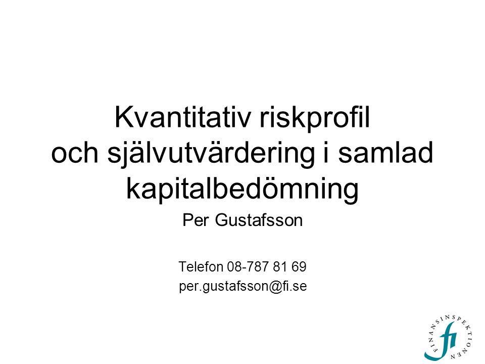Kvantitativ riskprofil och självutvärdering i samlad kapitalbedömning