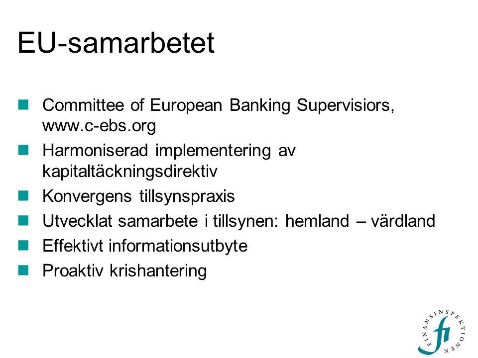 EU-samarbetet Committee of European Banking Supervisiors, www.c-ebs.org. Harmoniserad implementering av kapitaltäckningsdirektiv.