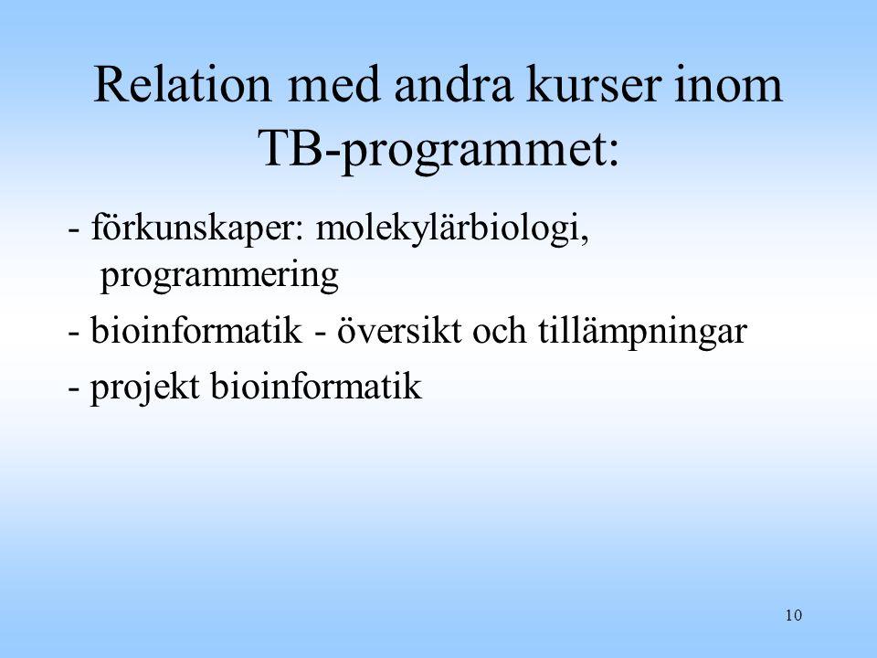 Relation med andra kurser inom TB-programmet: