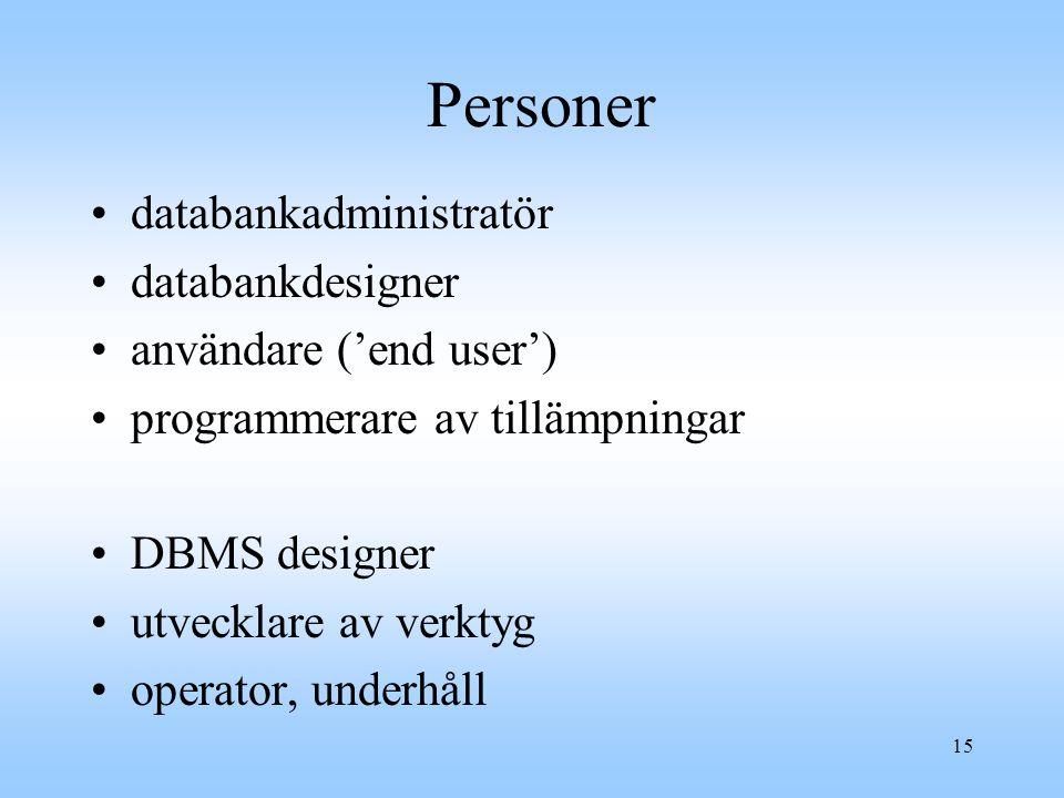 Personer databankadministratör databankdesigner användare ('end user')