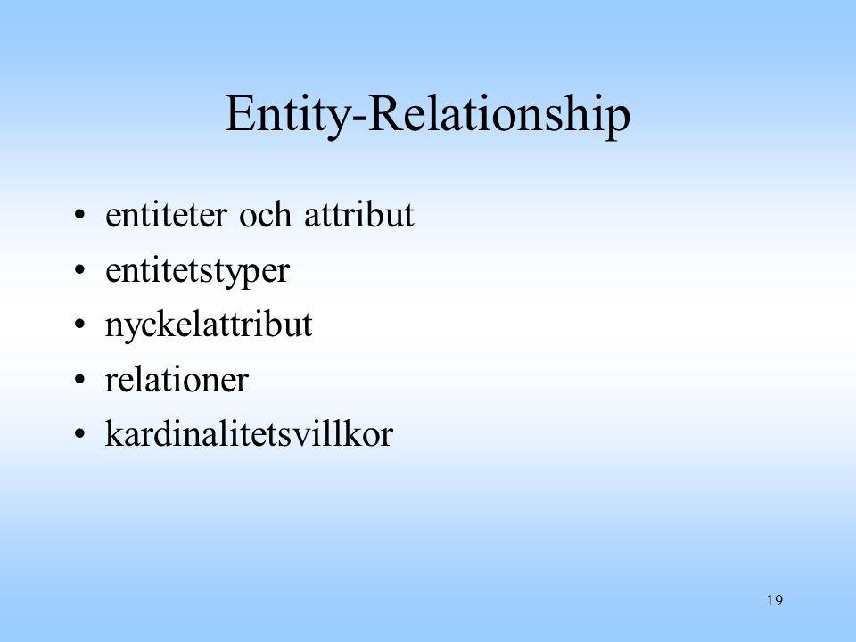 Entity-Relationship entiteter och attribut entitetstyper