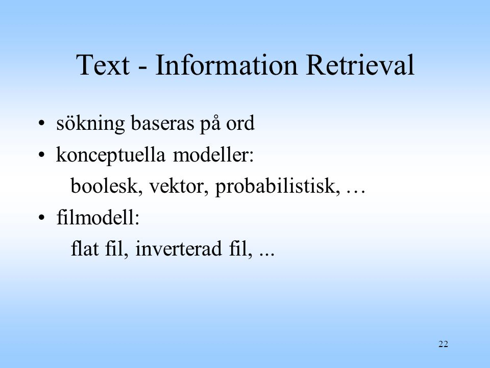 Text - Information Retrieval