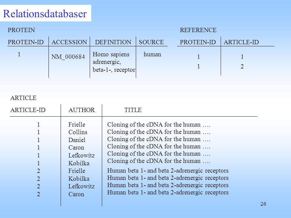 Relationsdatabaser PROTEIN ACCESSION SOURCE DEFINITION